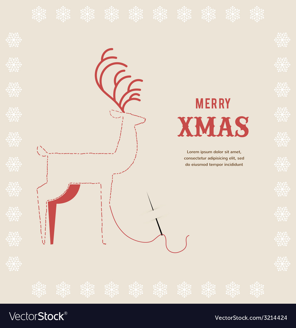 Stitch embroidered christmas deer on greeting card vector | Price: 1 Credit (USD $1)