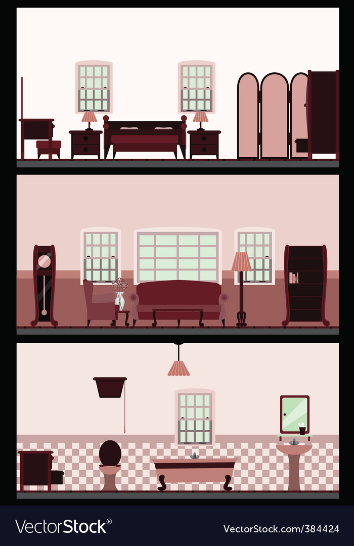 Vintage living room vector | Price: 1 Credit (USD $1)