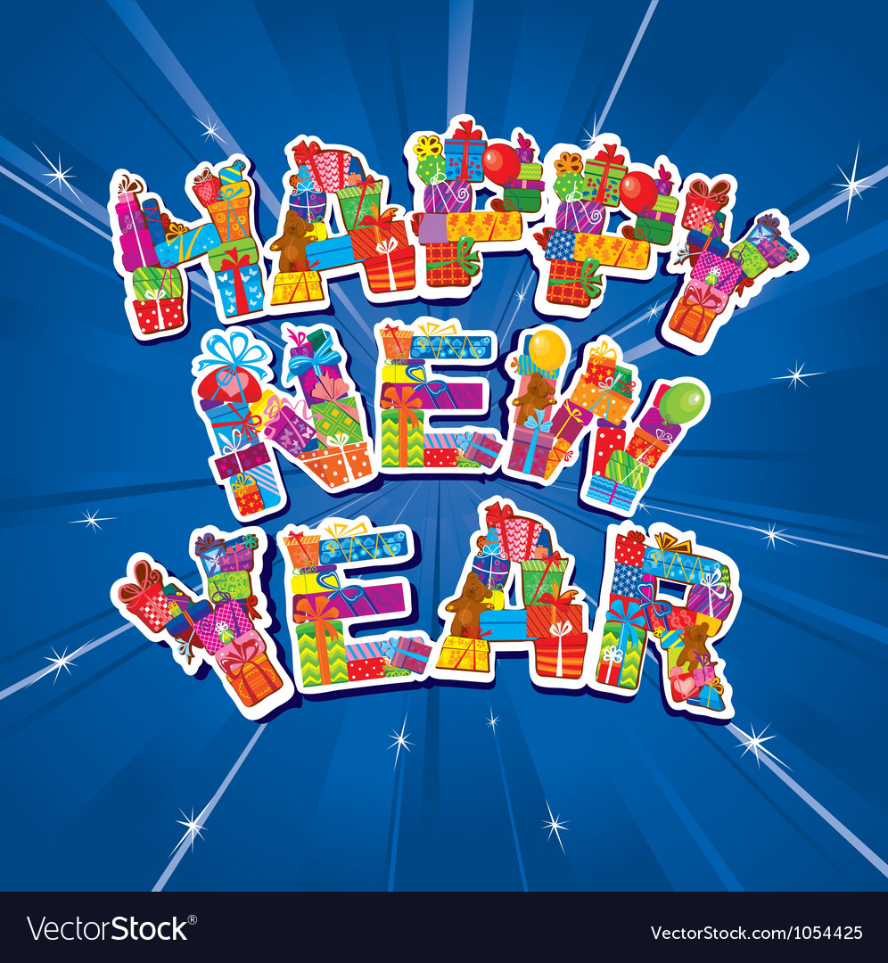 Abstract happy new year blue background vector | Price: 1 Credit (USD $1)