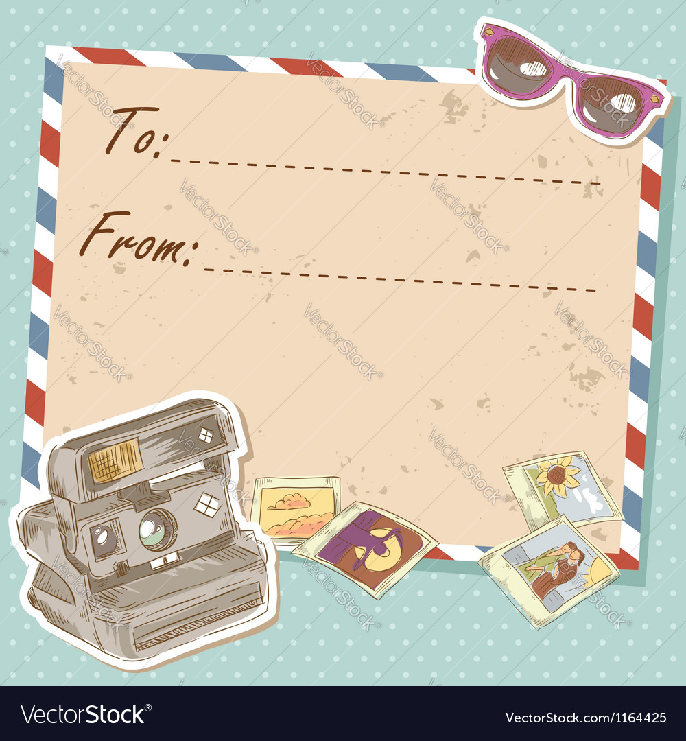 Air mail travel postcard with photo camera vector | Price: 3 Credit (USD $3)