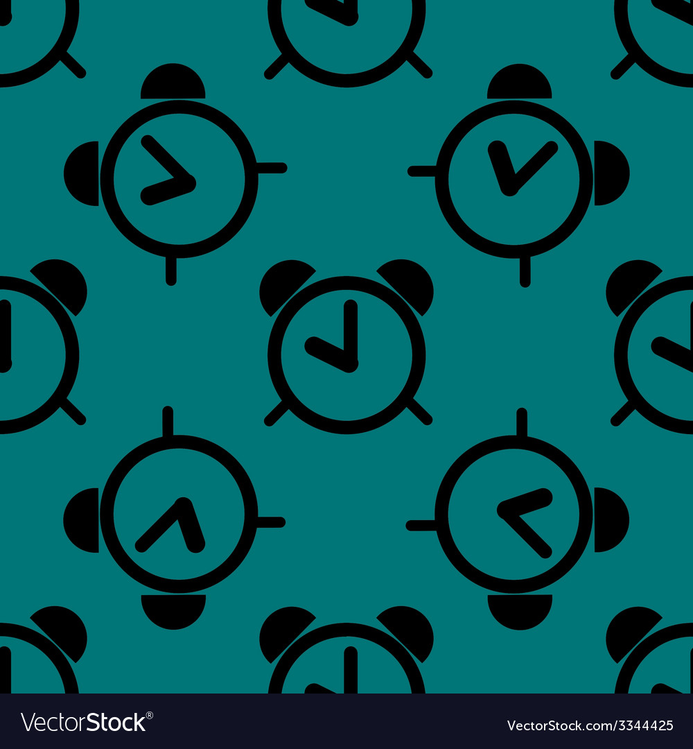 Alarm clock web icon flat design seamless pattern vector | Price: 1 Credit (USD $1)