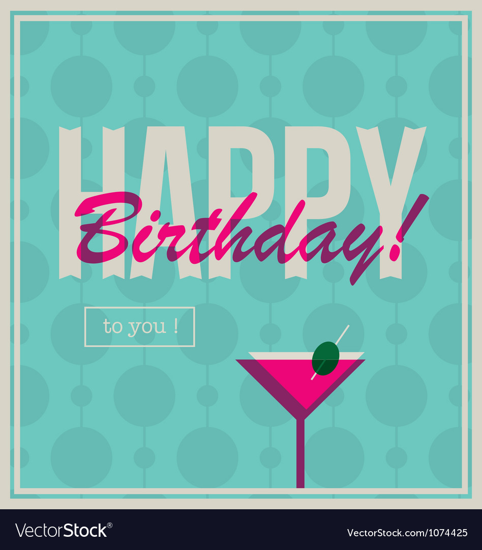 Birthday card cocktail drink vector | Price: 1 Credit (USD $1)