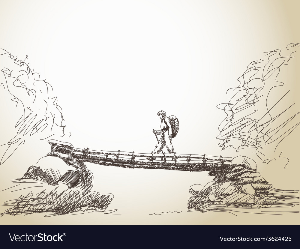 Bridge crossing river with trekking woman vector | Price: 1 Credit (USD $1)