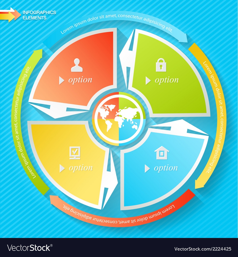 Business infographics four stages with icons can vector | Price: 1 Credit (USD $1)