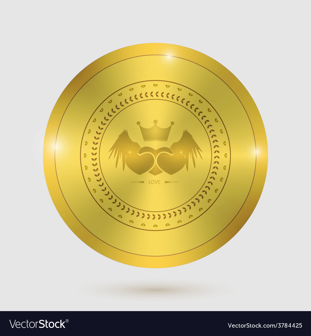 Icon heart angel valentines day guarantee of gold vector   Price: 1 Credit (USD $1)