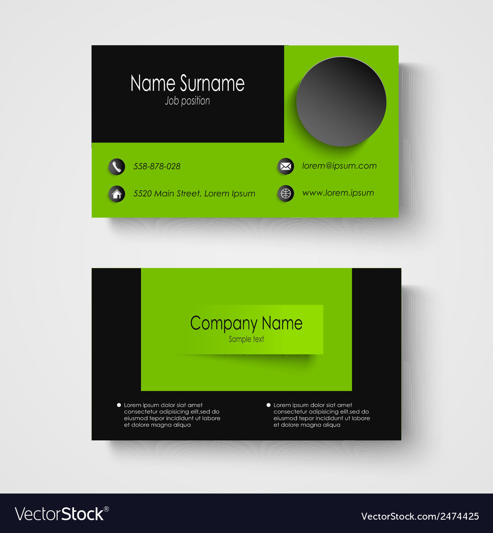 Modern sample green business card template vector | Price: 1 Credit (USD $1)