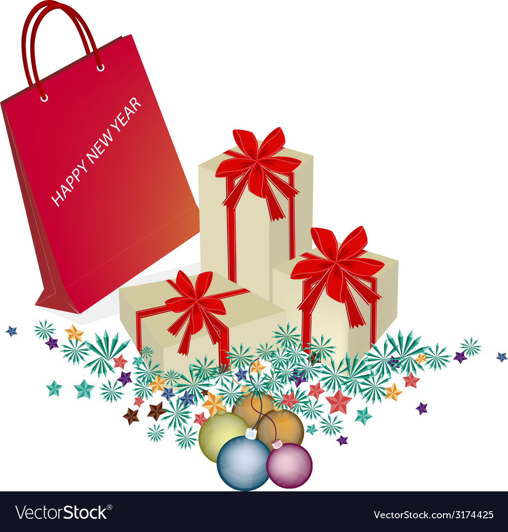 Red paper shopping bag with gift boxes vector | Price: 1 Credit (USD $1)