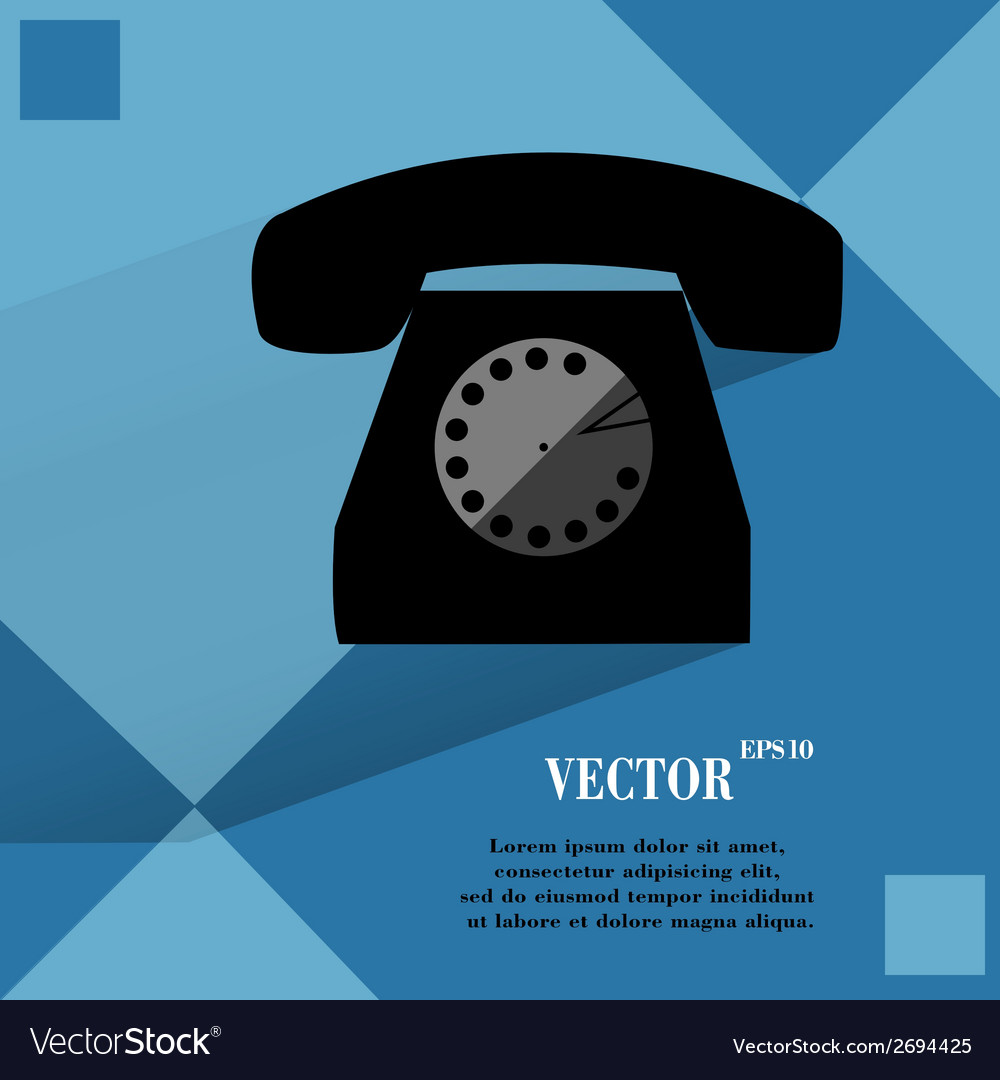 Retro telephone flat modern web button on a flat vector | Price: 1 Credit (USD $1)
