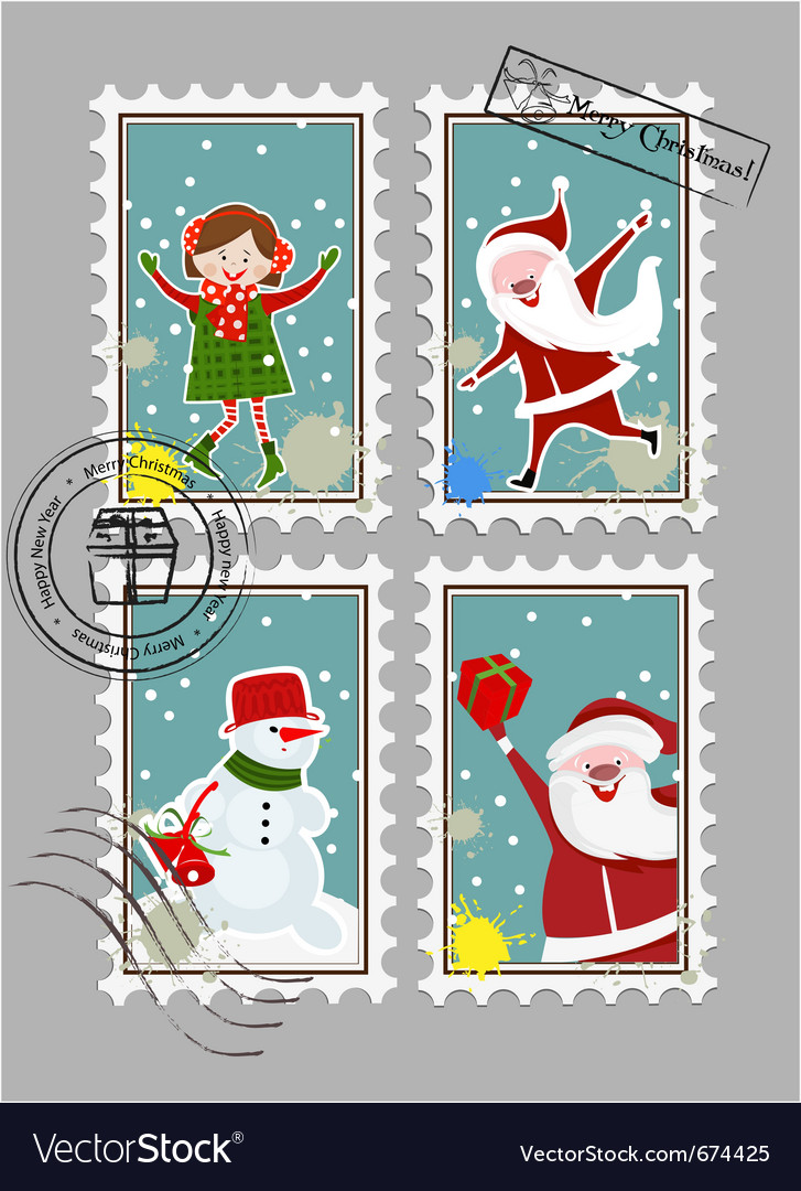 Xmas stamps vector | Price: 1 Credit (USD $1)