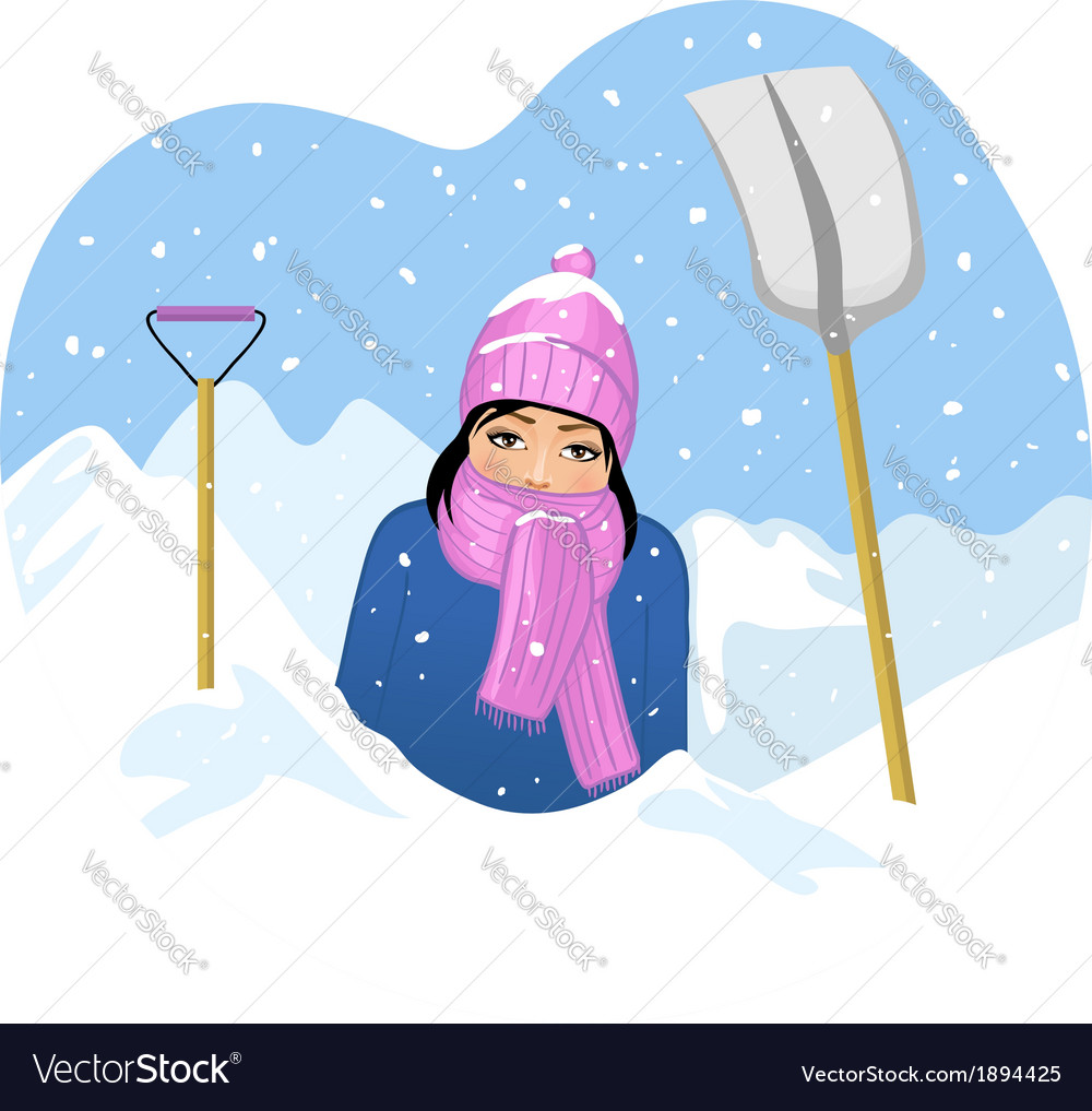 Young woman in snow tries to clean a road with sho vector | Price: 1 Credit (USD $1)