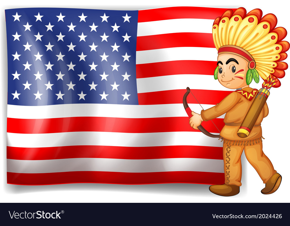 A young indian and the usa flag vector | Price: 3 Credit (USD $3)
