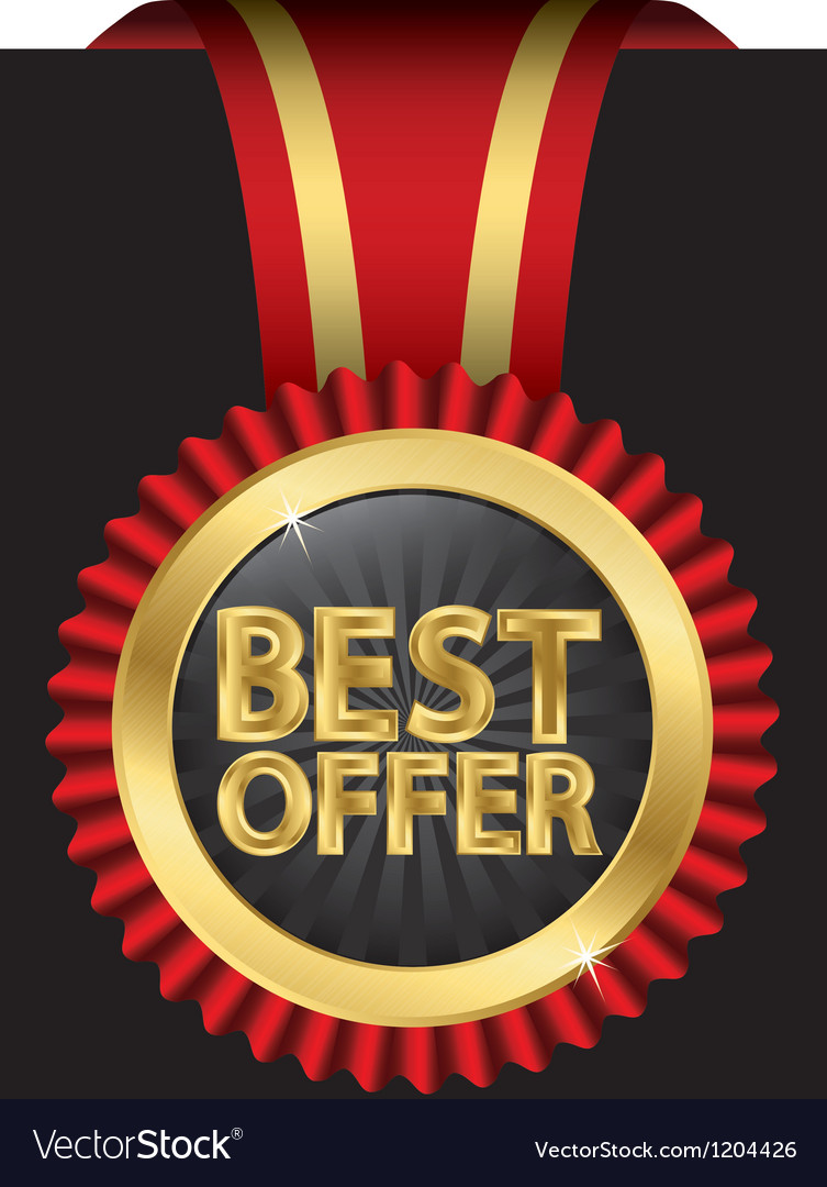 Best offer golden label with ribbon vector | Price: 3 Credit (USD $3)