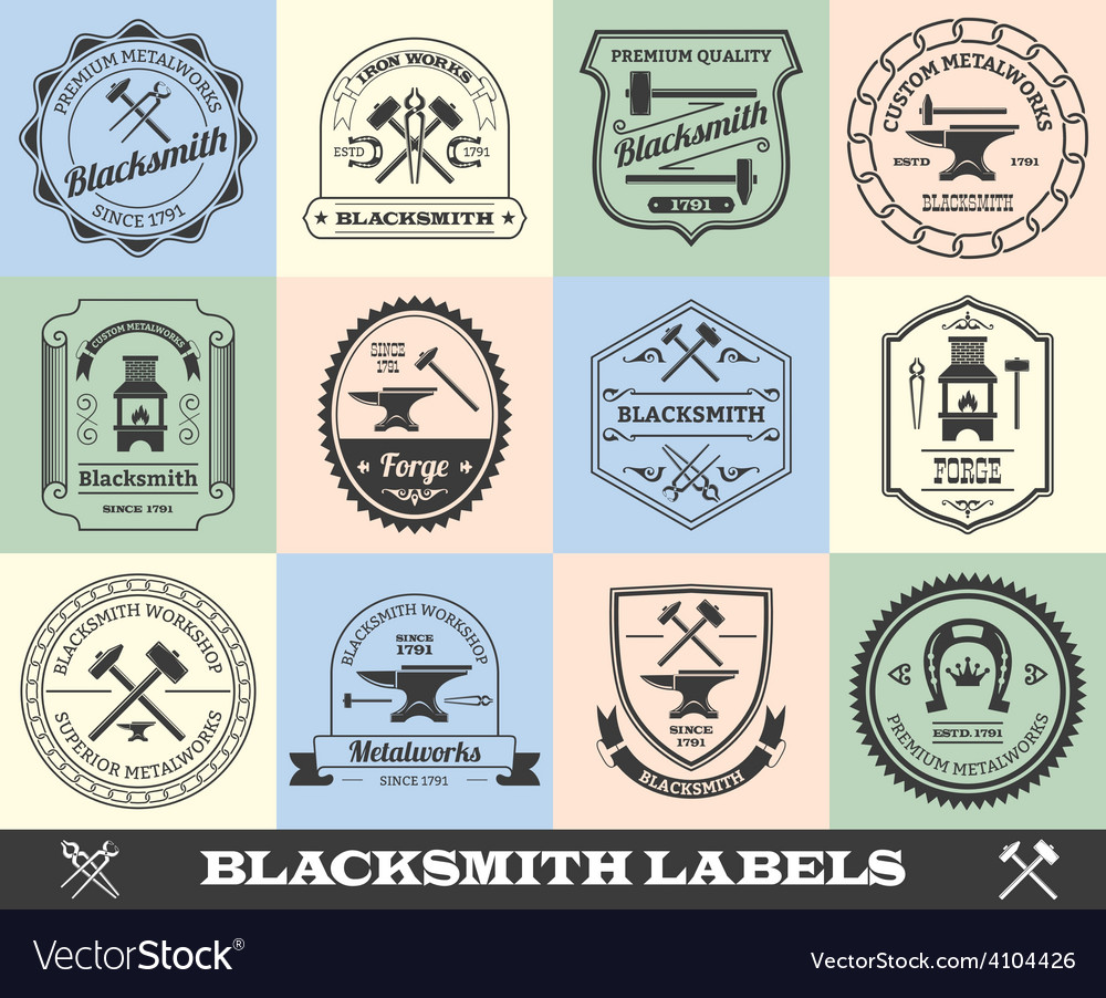Blacksmith label set vector | Price: 1 Credit (USD $1)