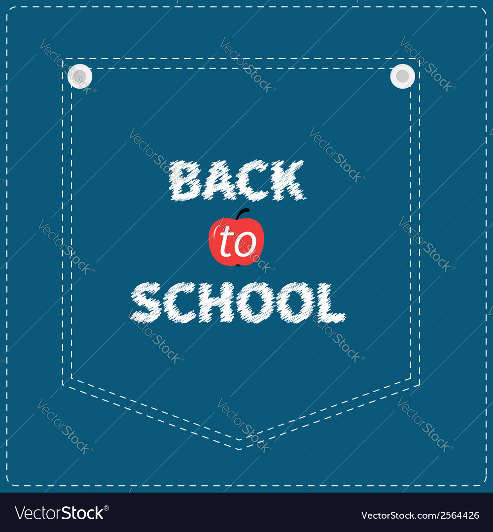 Blue denim jeans pocket dash line back to school vector | Price: 1 Credit (USD $1)
