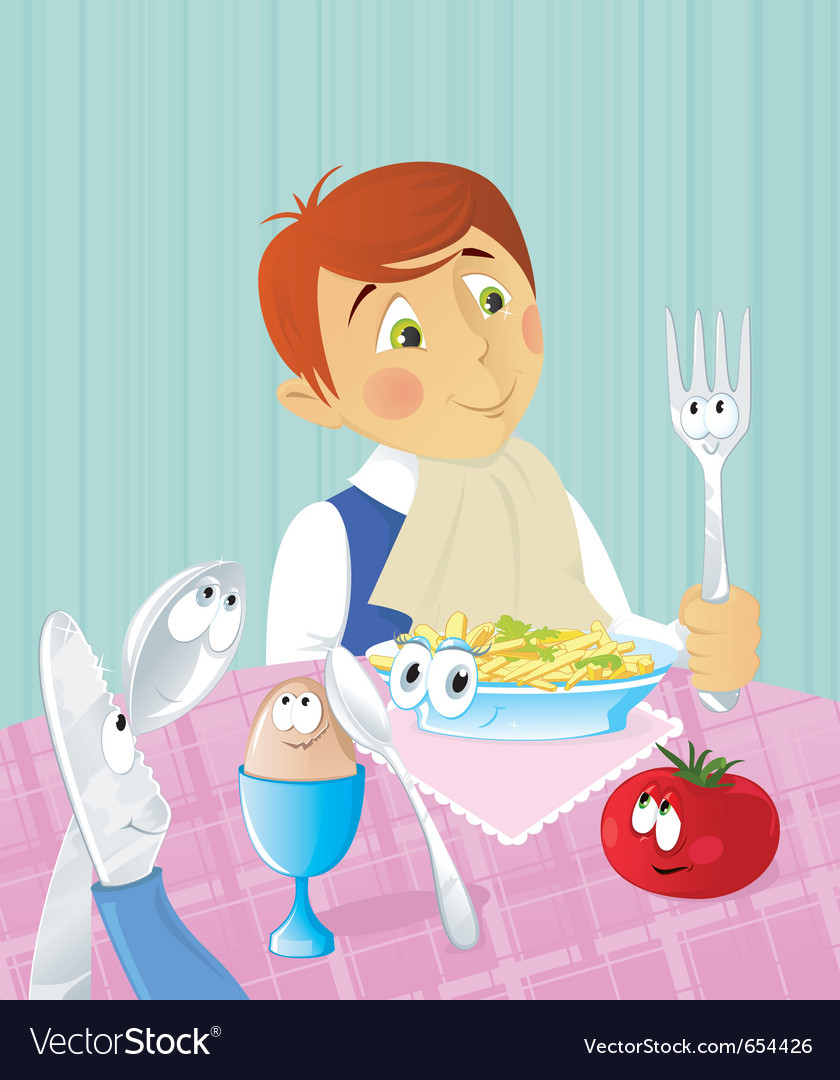 Boys dinner time vector | Price: 1 Credit (USD $1)