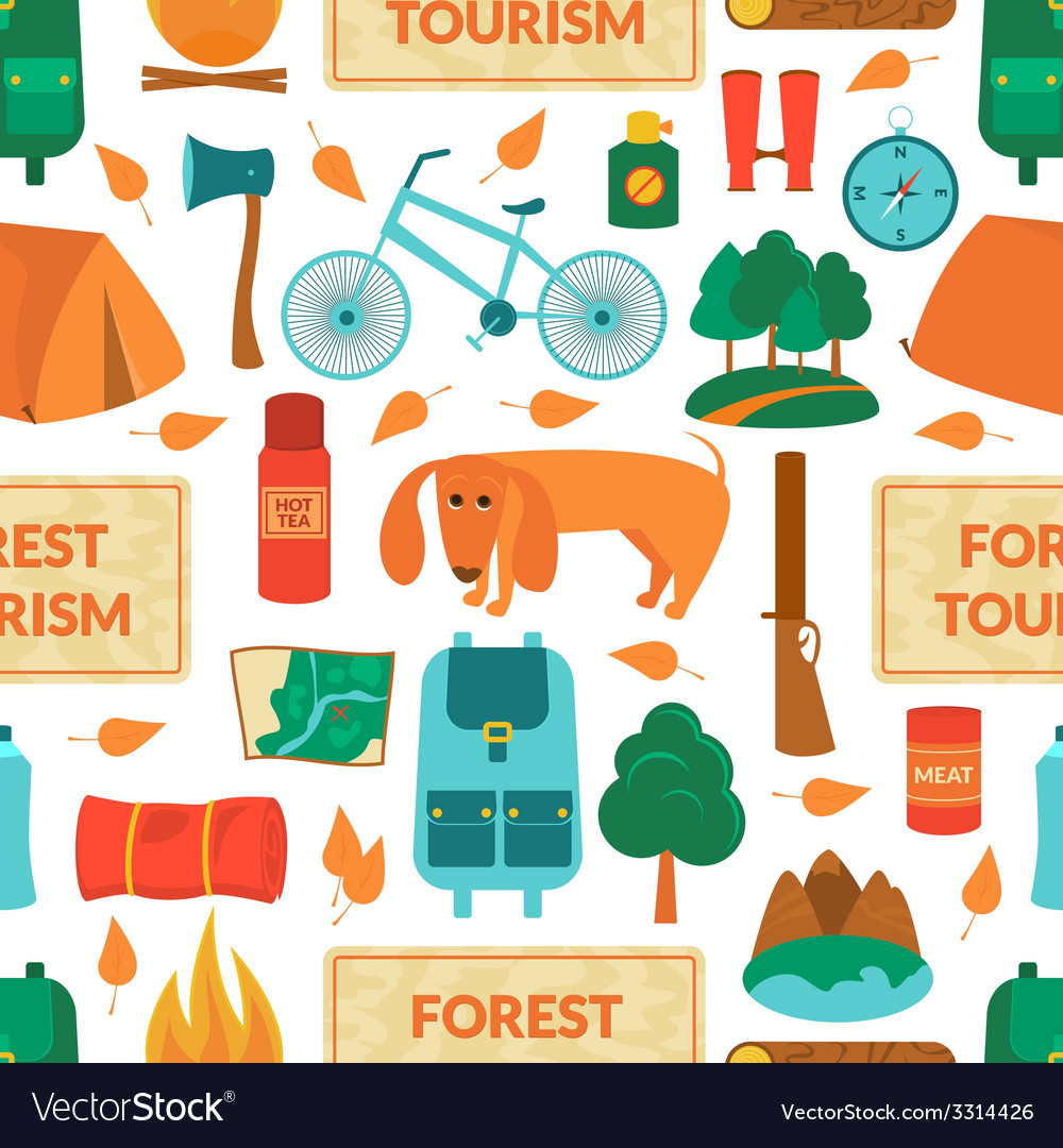 Camping equipment seamless pattern vector | Price: 1 Credit (USD $1)