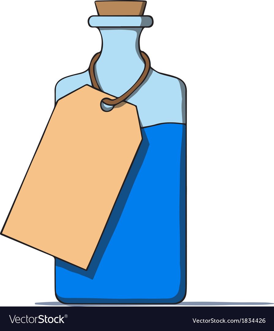 Cartoon bottle with a tag vector | Price: 1 Credit (USD $1)