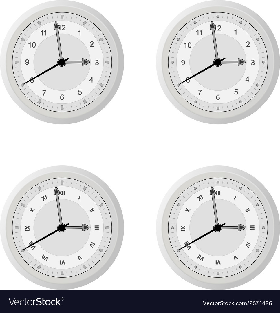 Clock dial in four variants with different design vector | Price: 1 Credit (USD $1)