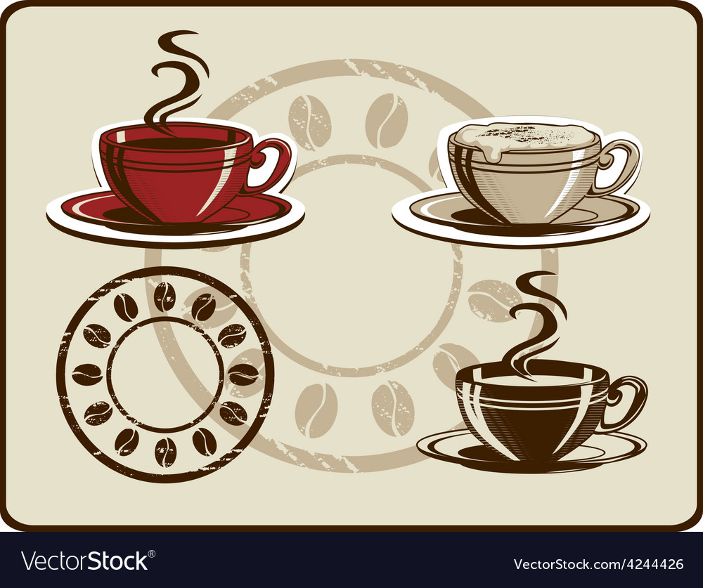 Coffee cup set vector | Price: 1 Credit (USD $1)