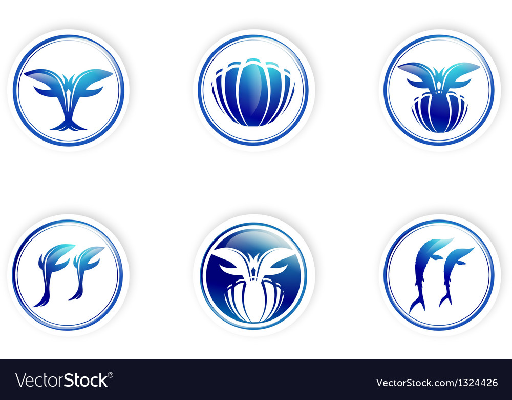 Collection of marine design labels vector | Price: 1 Credit (USD $1)