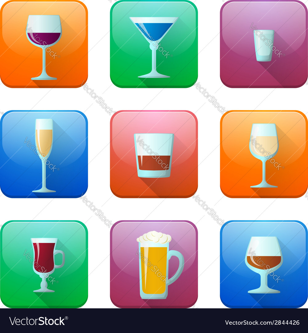 Glossy alcohol glasses icons set vector | Price: 1 Credit (USD $1)