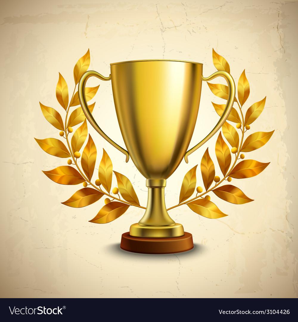 Golden trophy emblem vector | Price: 1 Credit (USD $1)