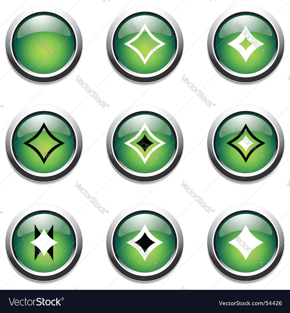 Green buttons with decoration vector | Price: 1 Credit (USD $1)