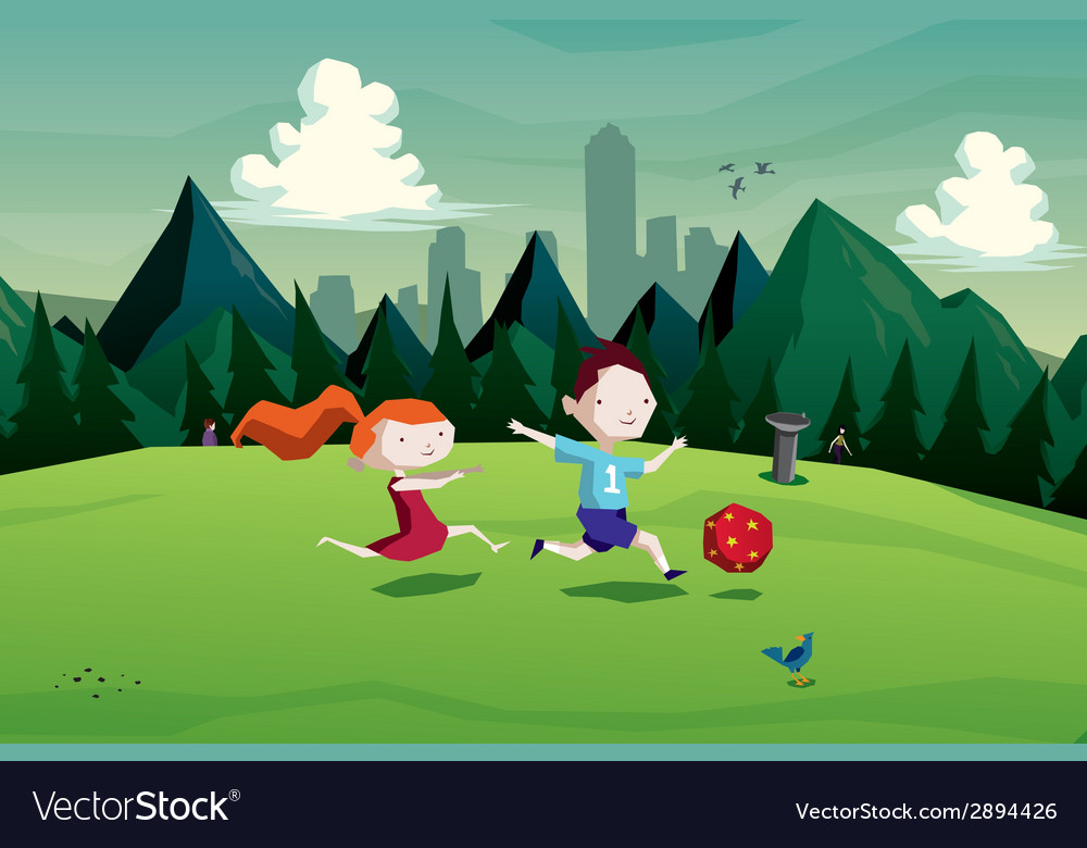 Kids boy and girl playing with a ball in park vector | Price: 1 Credit (USD $1)