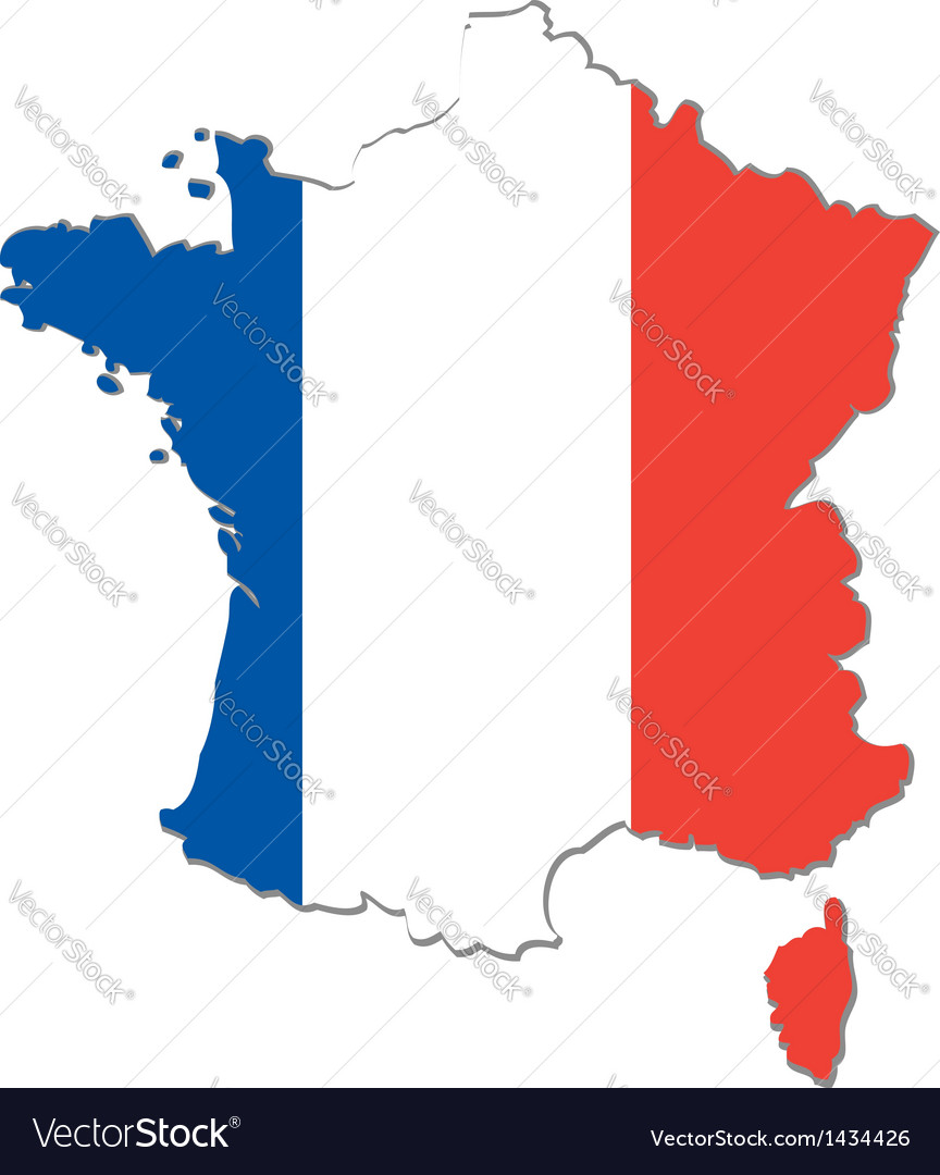 Map of france with national flag vector | Price: 1 Credit (USD $1)