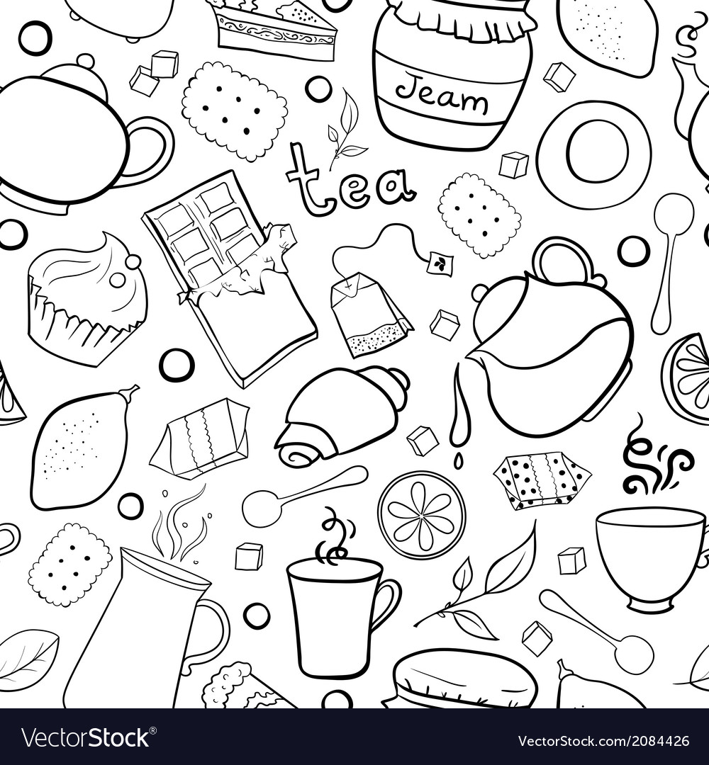 Tea and sweets black and white seamless pattern vector | Price: 1 Credit (USD $1)