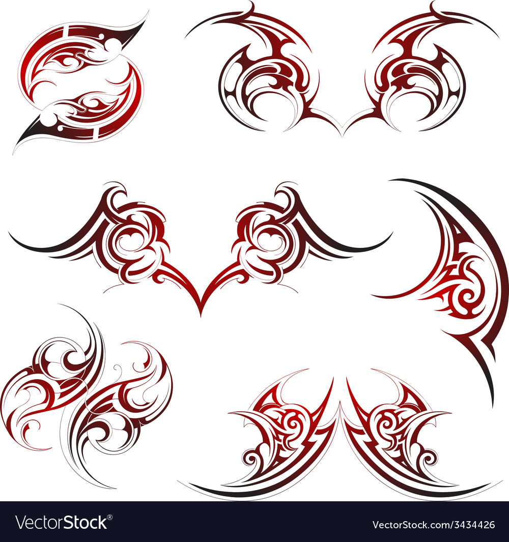 Tribal fire flame tattoo set vector | Price: 1 Credit (USD $1)