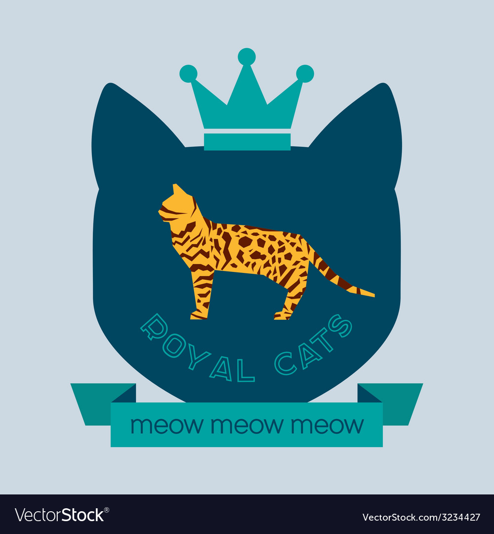 Bengal cat flat badge vector | Price: 1 Credit (USD $1)
