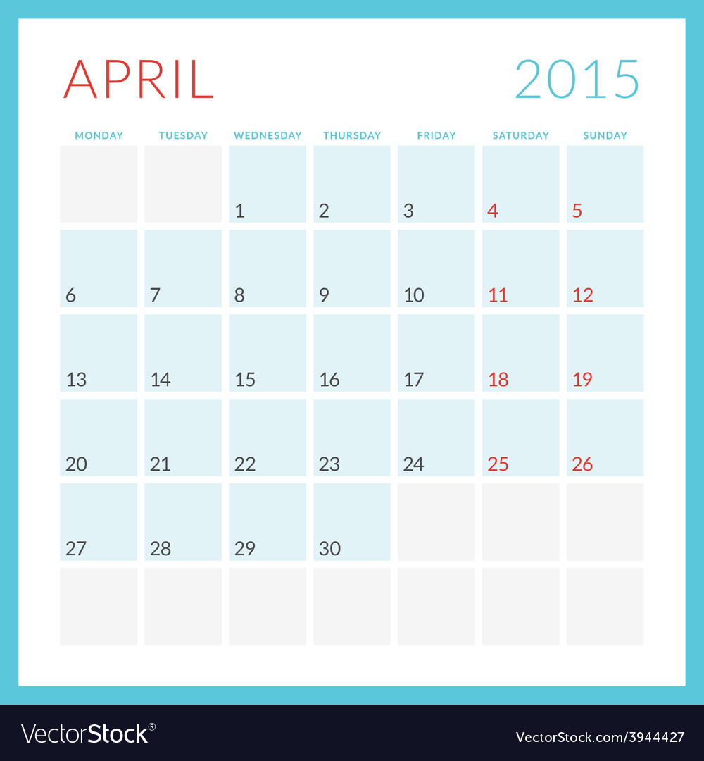 Calendar 2015 flat design template april week vector | Price: 1 Credit (USD $1)