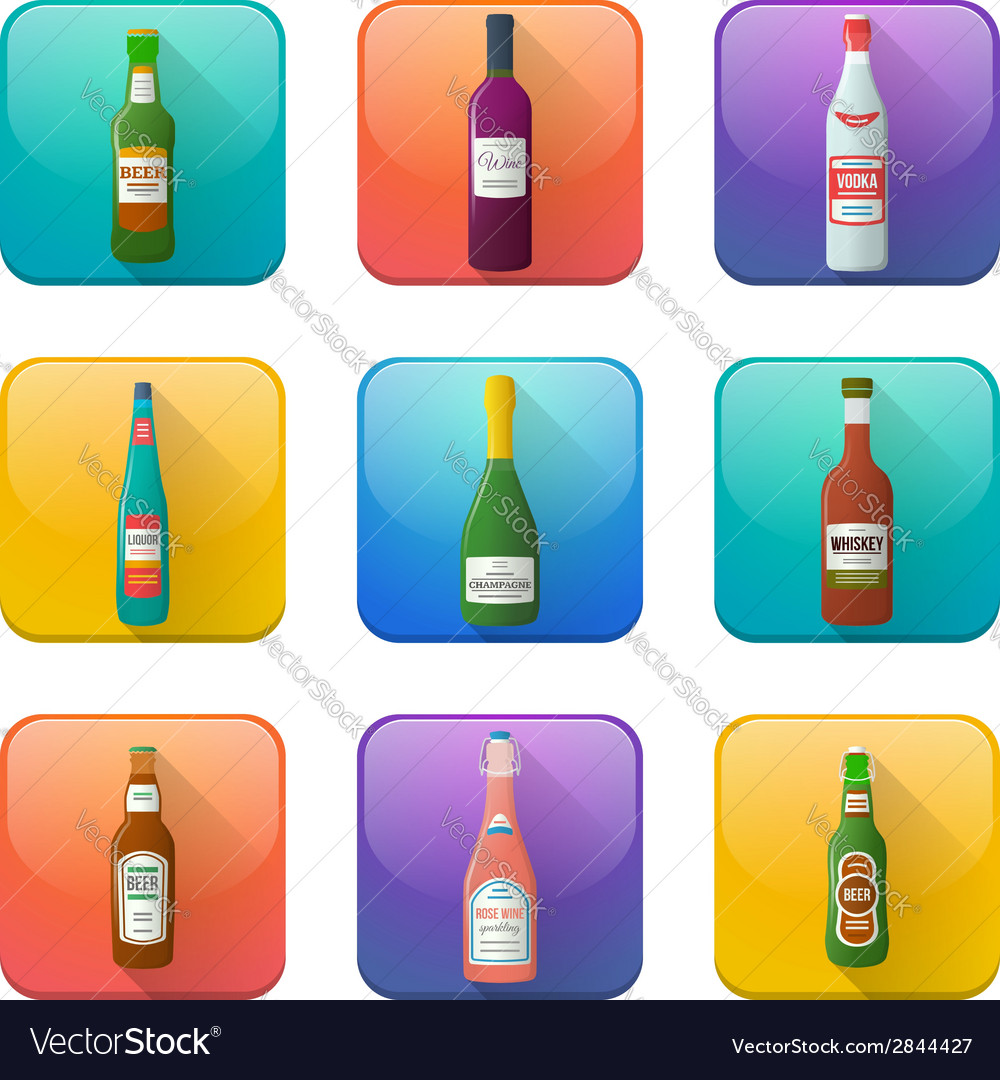 Glossy alcohol bottles icons set vector | Price: 1 Credit (USD $1)