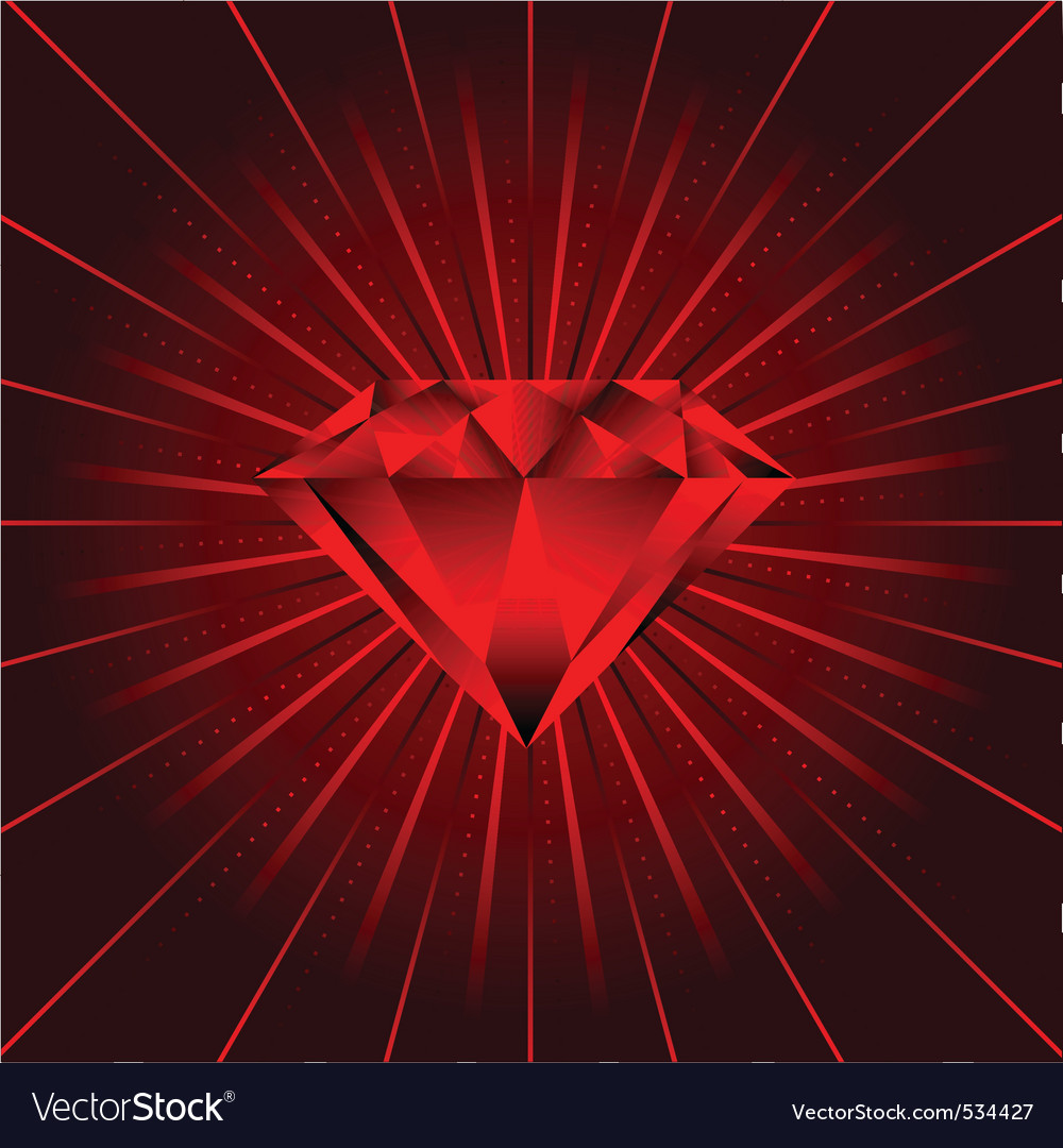 Red ruby diamond beams vector | Price: 1 Credit (USD $1)