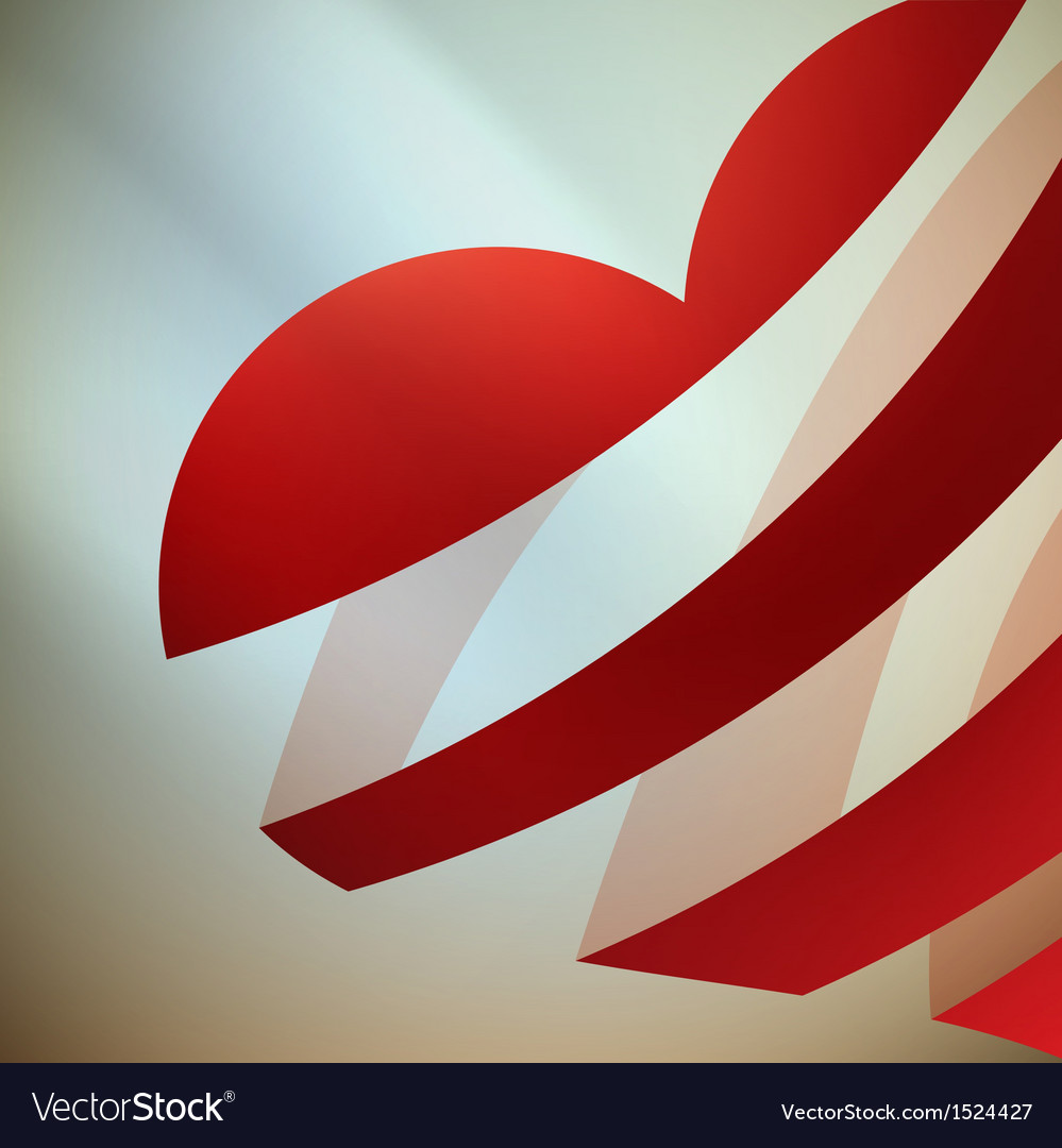 Ribbon red heart with light vector | Price: 1 Credit (USD $1)