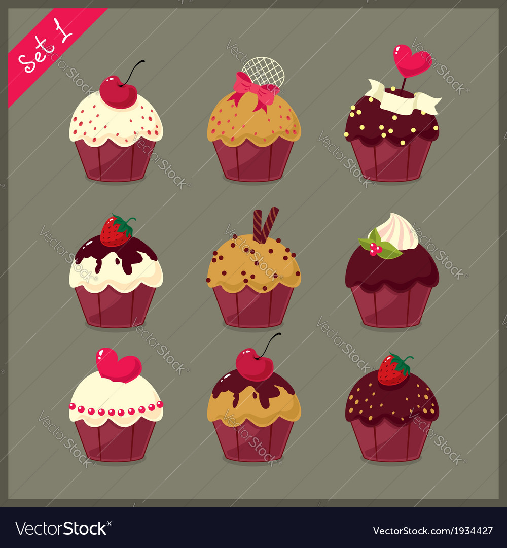 Set of cute cupcakes vector | Price: 1 Credit (USD $1)