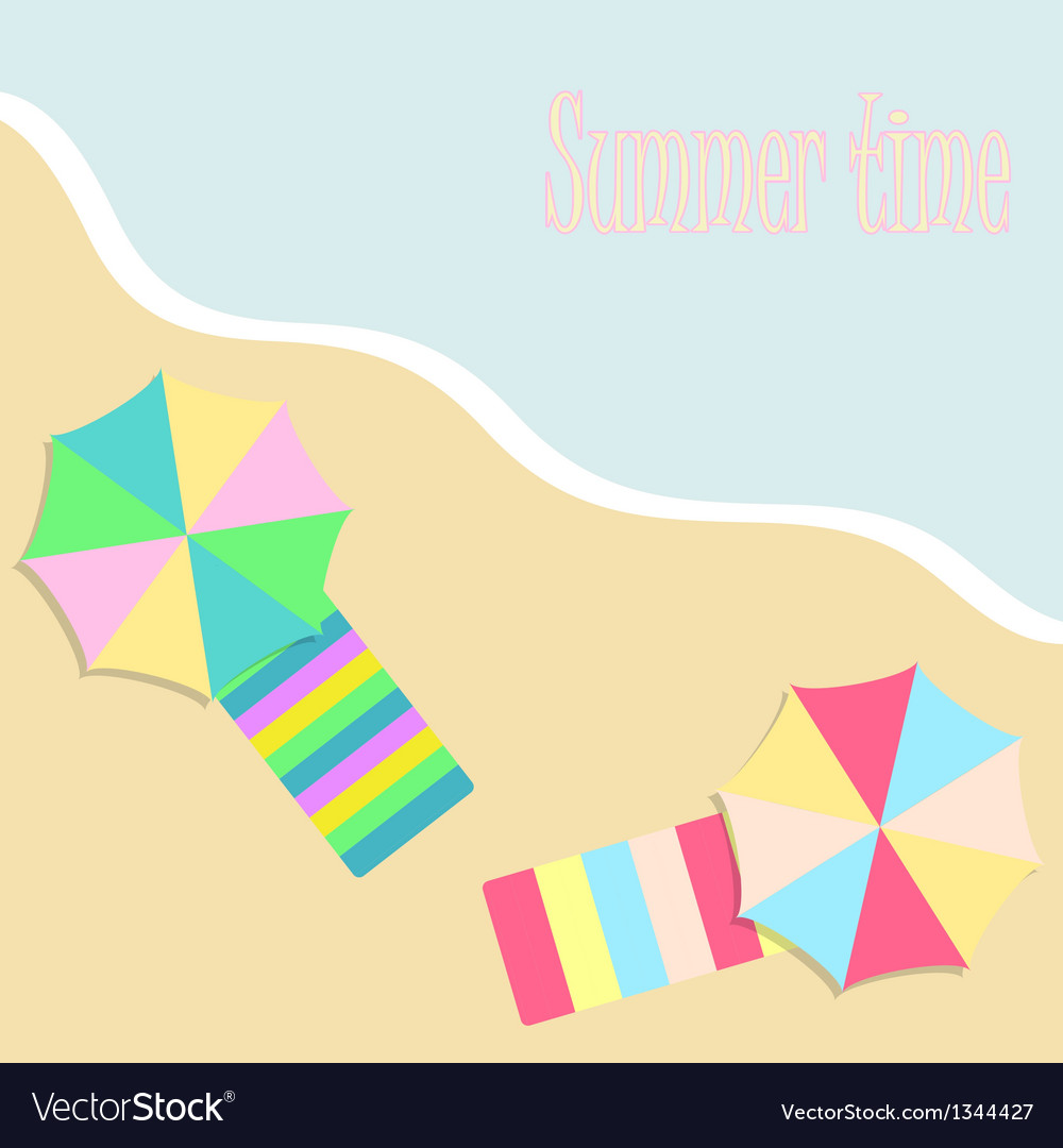 Summer background with beach umbrellas vector | Price: 1 Credit (USD $1)