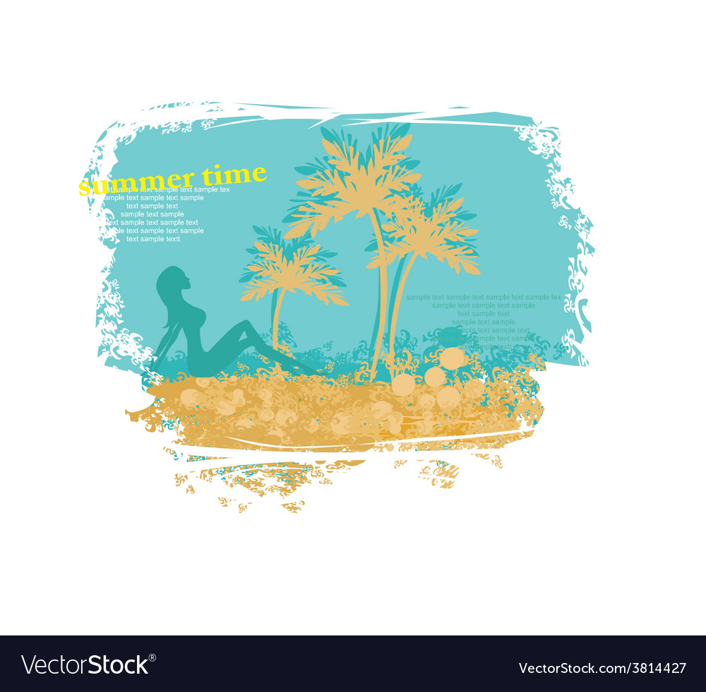 Tropical girl silhouette grunge poster vector | Price: 1 Credit (USD $1)