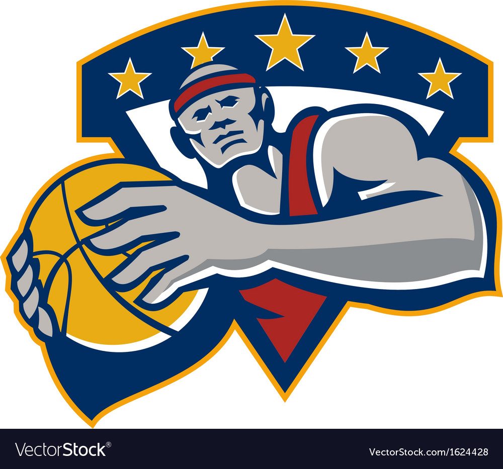 Basketball player holding ball star retro vector | Price: 1 Credit (USD $1)