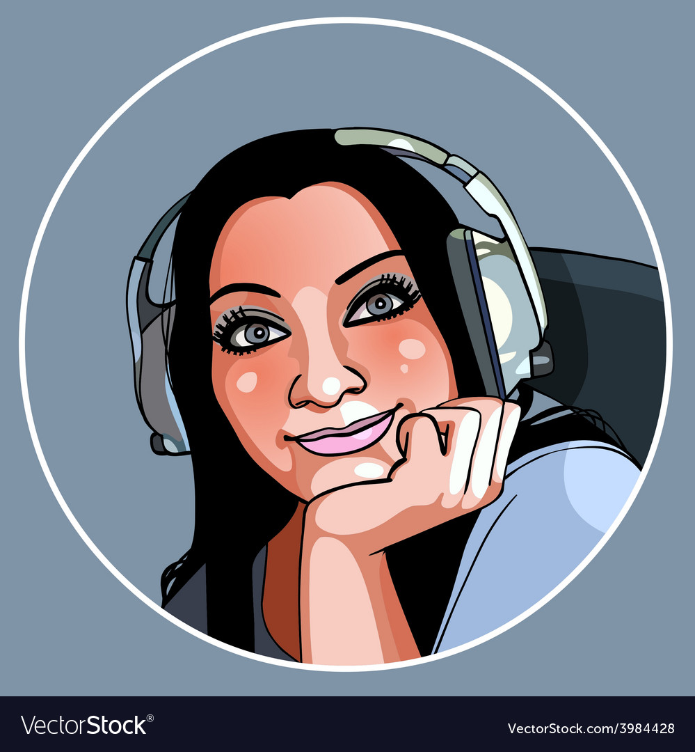 Beautiful girl in headphones smiling vector | Price: 3 Credit (USD $3)