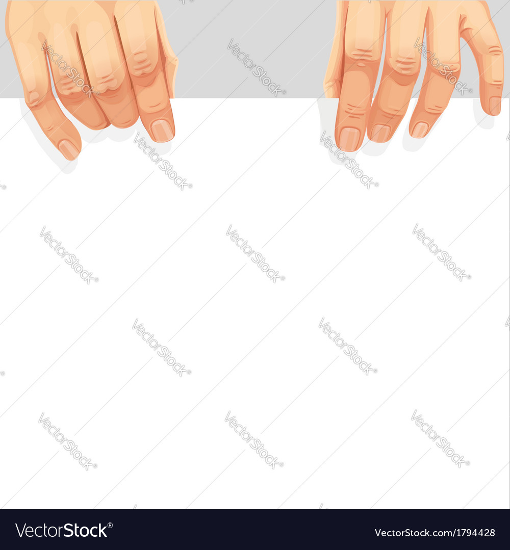Male hands holding a blank white banner vector | Price: 1 Credit (USD $1)