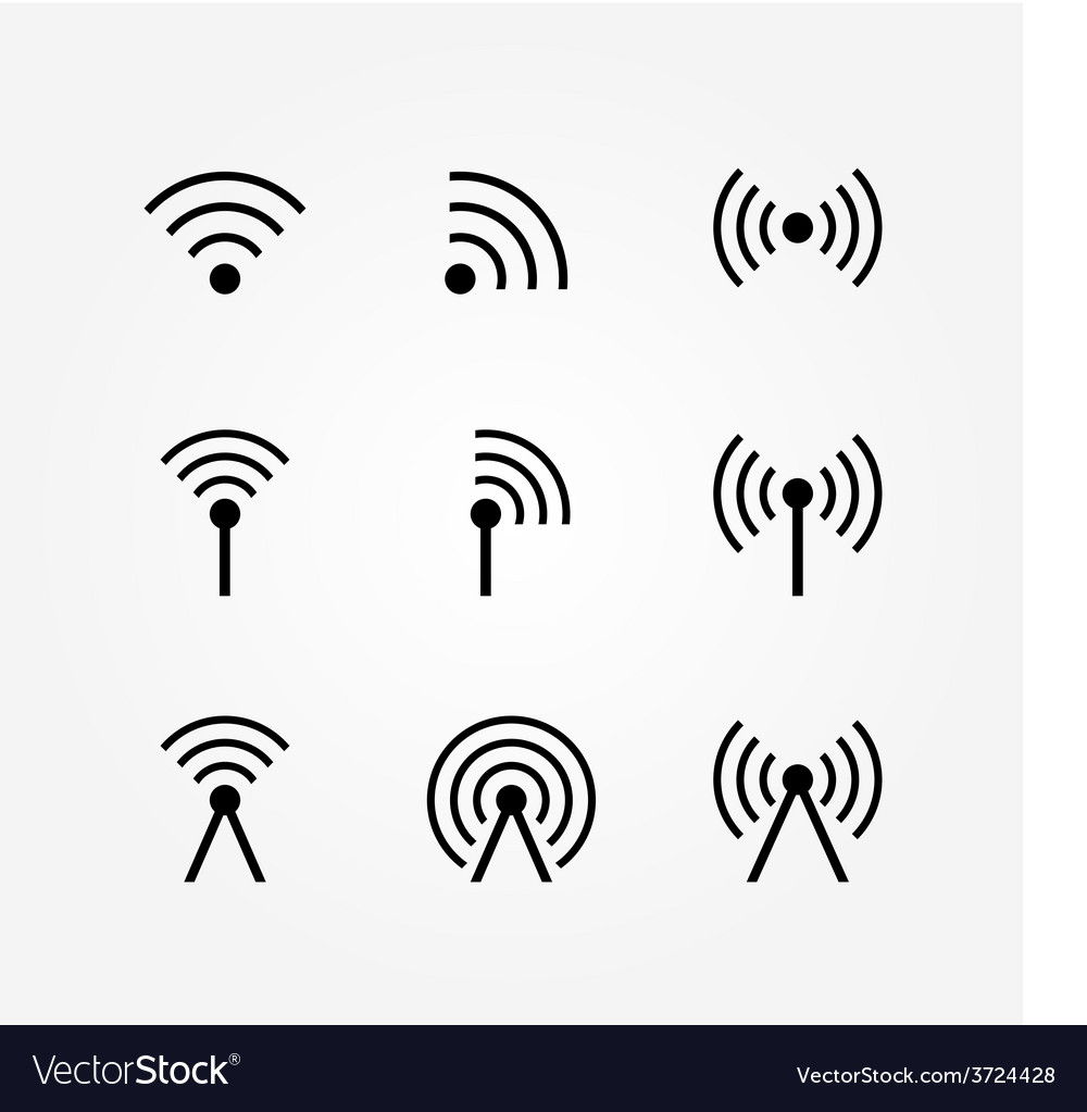 Set of wireless and wifi icons vector | Price: 1 Credit (USD $1)