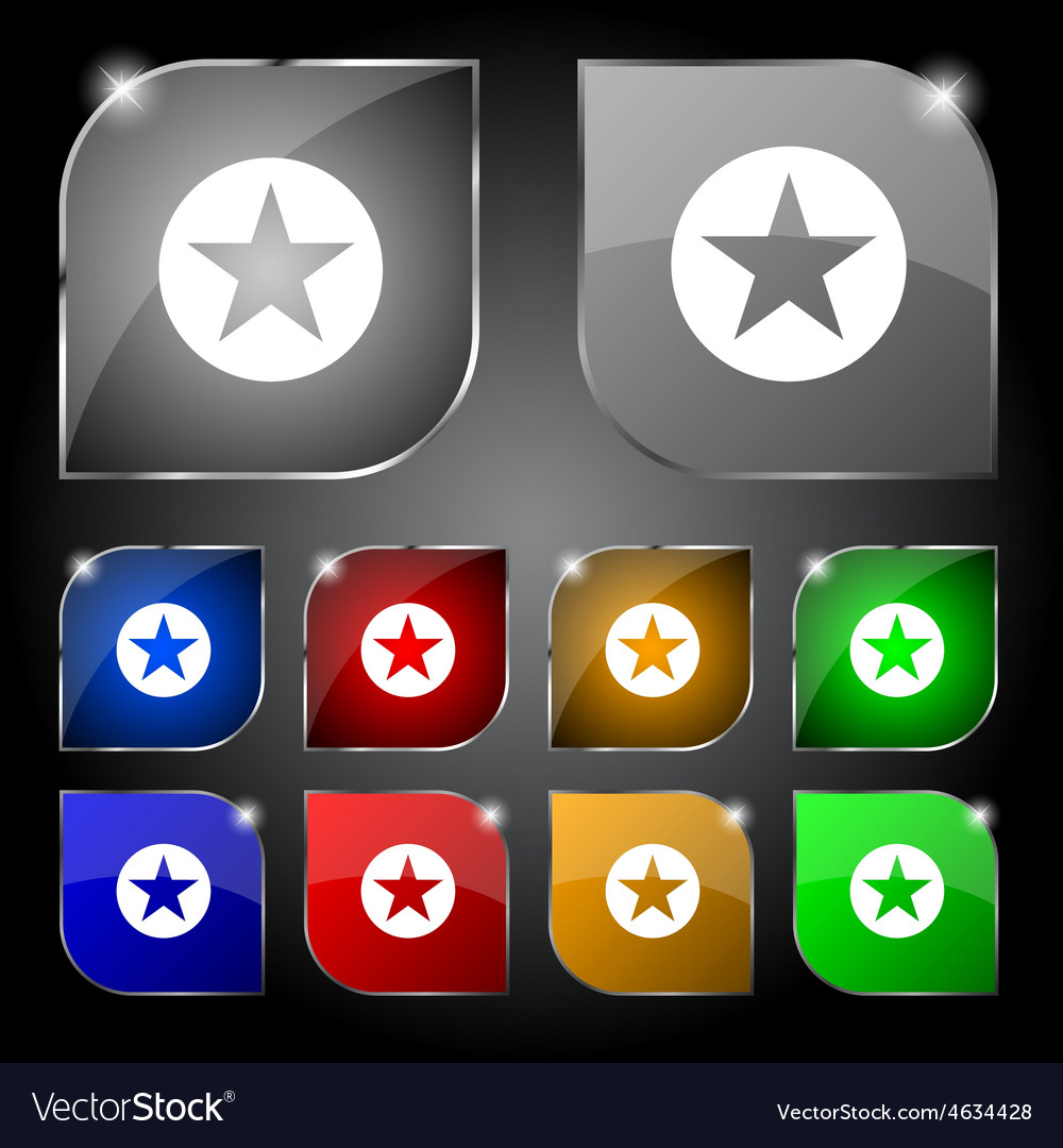 Star favorite icon sign set of ten colorful vector | Price: 1 Credit (USD $1)