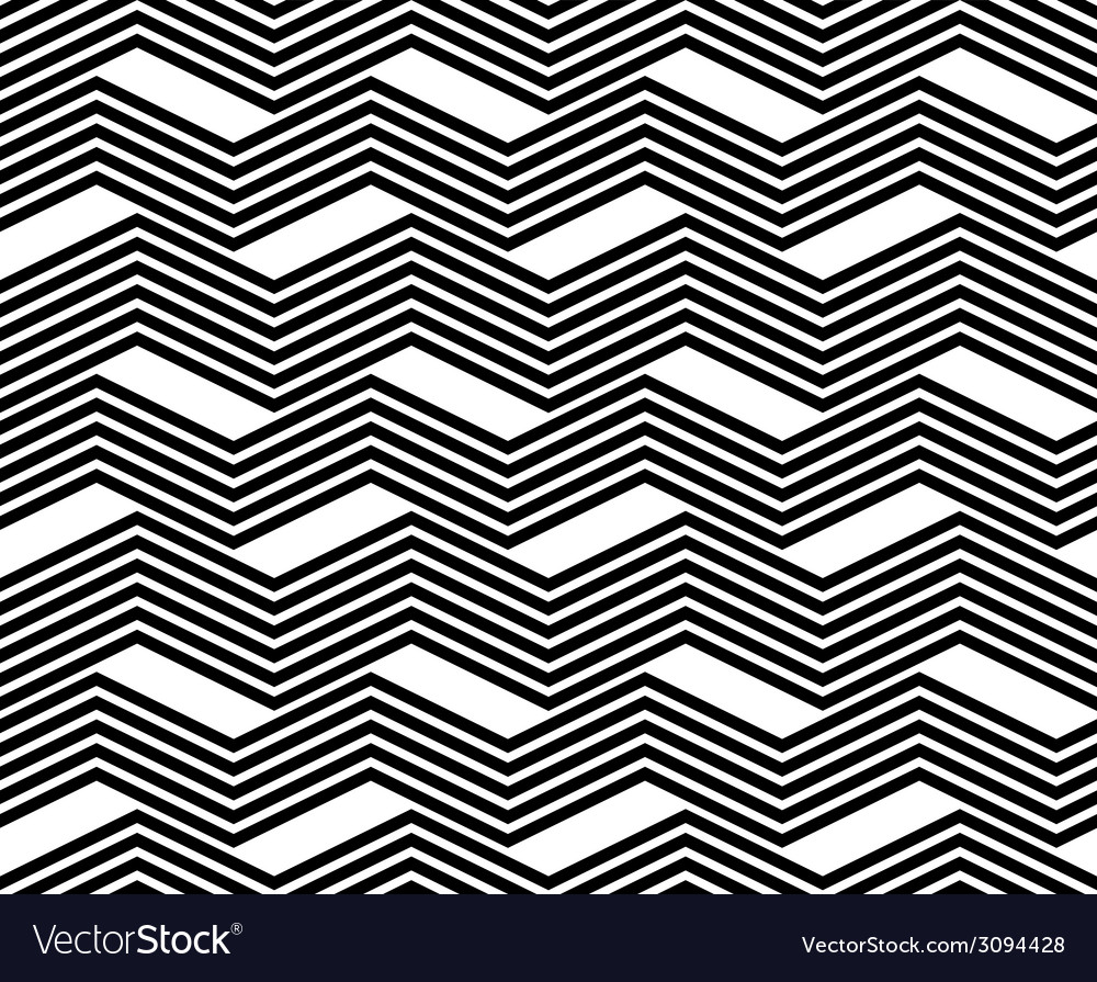 Zig zag black and white geometric seamless pattern vector | Price: 1 Credit (USD $1)