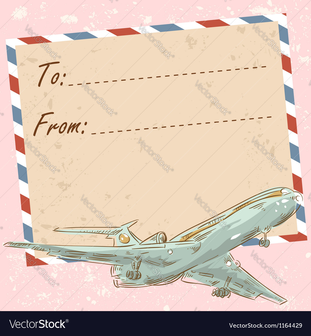 Air mail travel postcard with touristic airplane vector | Price: 3 Credit (USD $3)