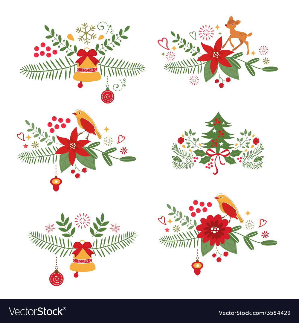 Colorful christmas banners and laurels vector | Price: 1 Credit (USD $1)