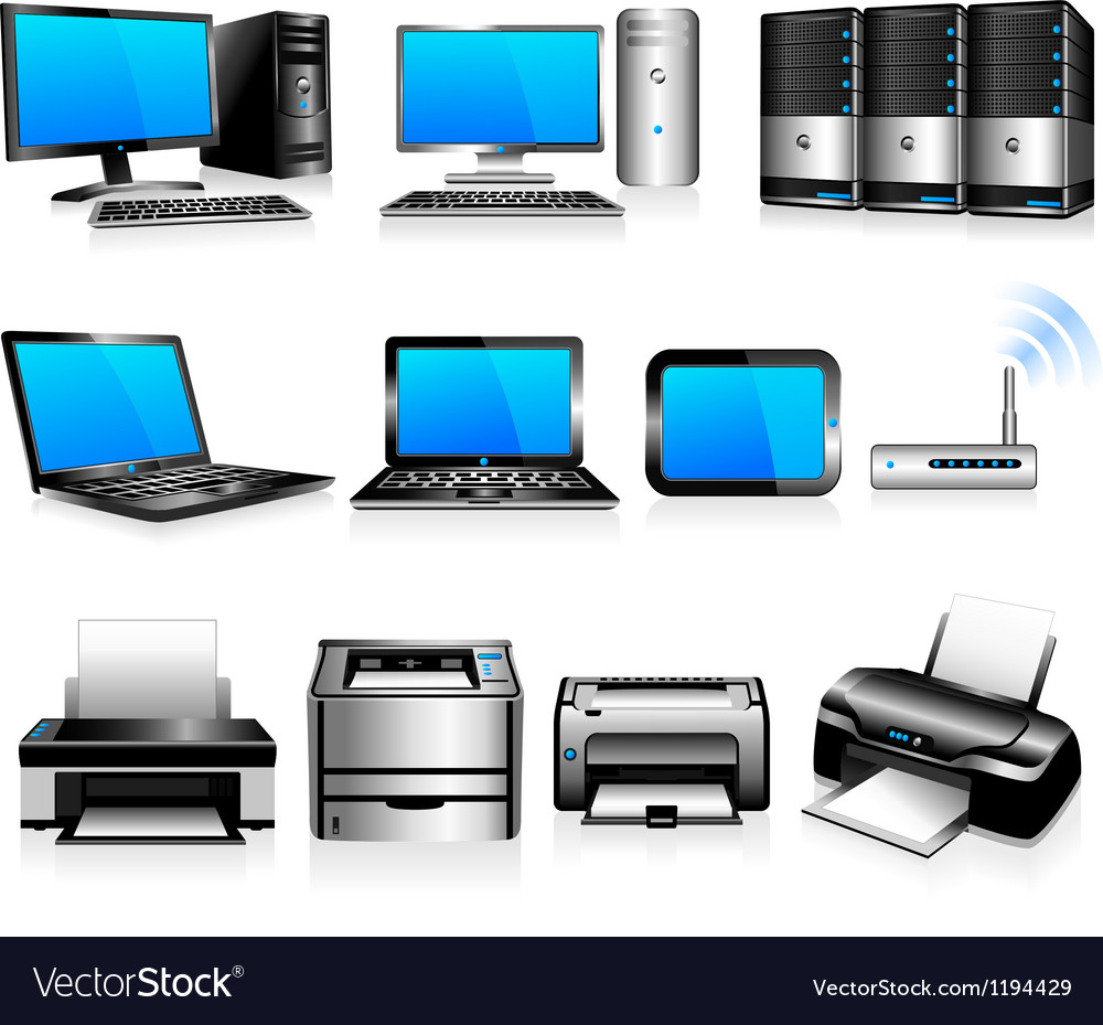 Computers printers technology electronics vector