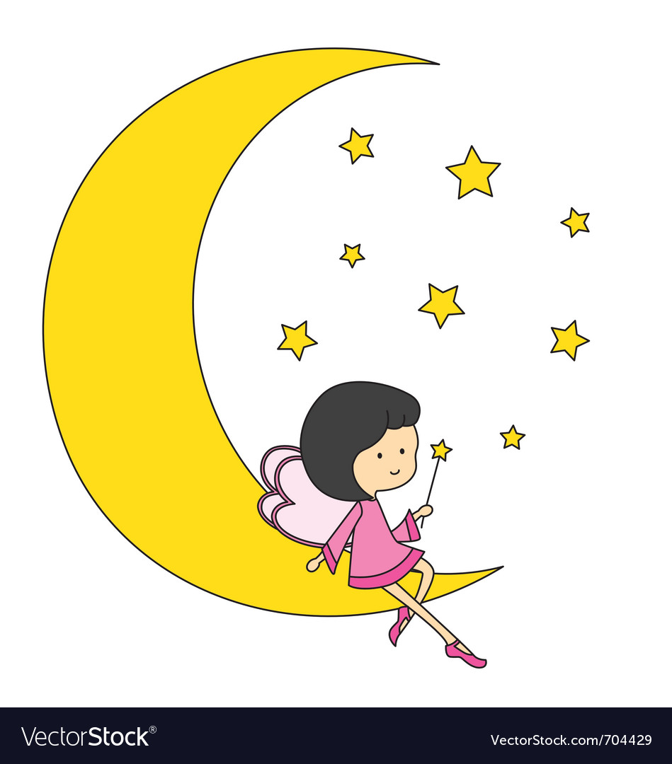 Fairy sitting on the moon vector | Price: 1 Credit (USD $1)