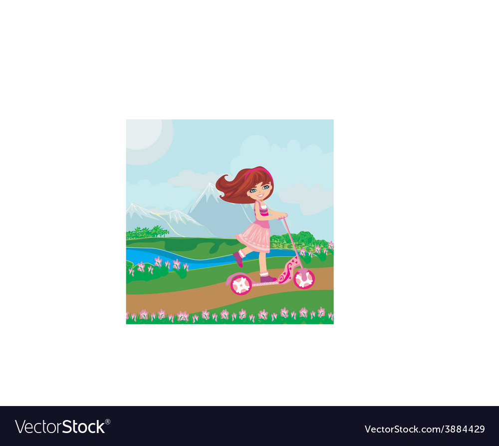 Little girl riding a scooter vector | Price: 1 Credit (USD $1)